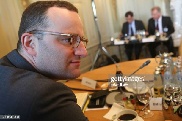 Health Minister Jens Spahn arrives for a government retreat at Schloss Meseberg on April 10 2018 in Gransee Germany The government Cabinet is meeting...