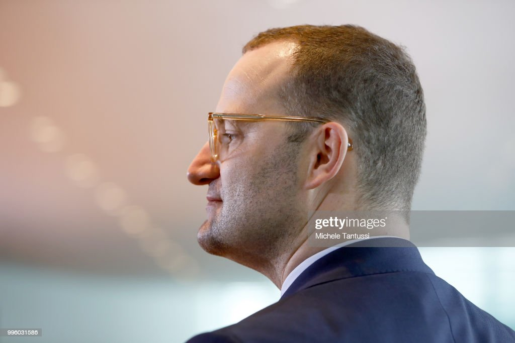 Health Minister, Jens Spahn, (CDU), arrives for the weekly cabinet meeting in the German Chancellory on July 11, 2018 in Berlin, Germany.