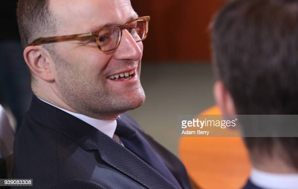 Health Minister Jens Spahn arrives for the weekly German federal Cabinet meeting on March 28 2018 in Berlin Germany High on the meeting's agenda was...