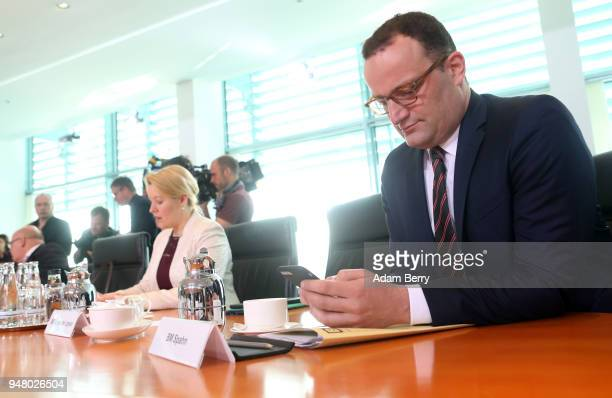 Health Minister Jens Spahn arrives for the weekly German federal Cabinet meeting on April 18 2018 in Berlin Germany High on the meeting's agenda was...