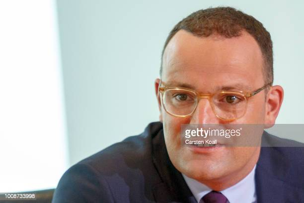 Health Minister Jens Spahn arrives for the weekly government cabinet meeting on August 1 2018 in Berlin Germany High on the morning's agenda was...