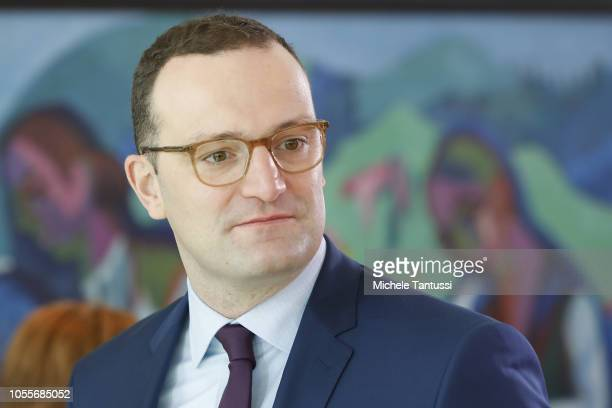 Health Minister Jens Spahn arrives for the weekly government cabinet meeting on October 31 2018 in Berlin Germany Among issues on the morning's...