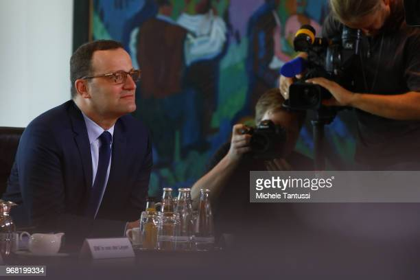 Health Minister Jens Spahn arrives for the weekly government cabinet meeting on June 6 2018 in Berlin Germany High on the morning agenda was the new...