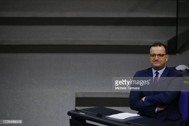 Health Minister: Jens Spahn , arrives to address the members of parliament during his report on the actual situation of the Covid-19 Pandemic in the...