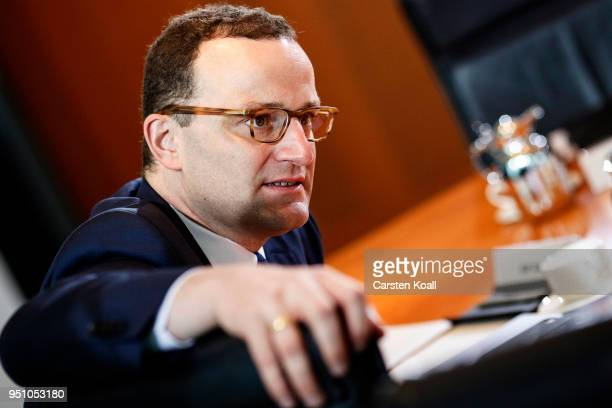 Health Minister Jens Spahn attends the weekly government cabinet meeting on April 25 2018 in Berlin Germany High on the morning's agenda was the new...
