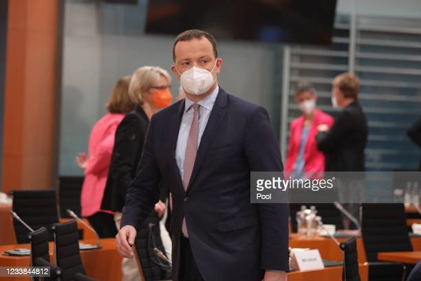 Health Minister Jens Spahn before the weekly government cabinet meeting on July 7, 2021 in Berlin, Germany.