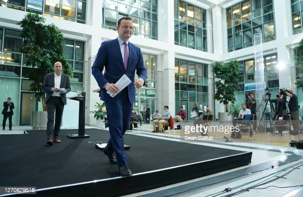 Health Minister Jens Spahn departs after speaking to the media following a virtual meeting with other EU health ministers and officials as part of...