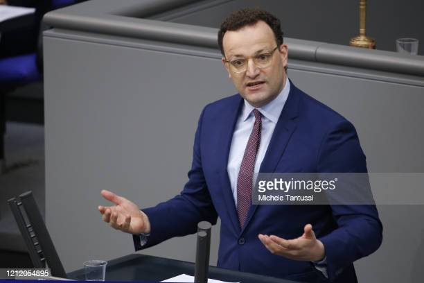 Health Minister Jens Spahn speaks in the German lower houses of parliament or Bundestag on May 7 2020 in Berlin Germany Among topics of debate today...