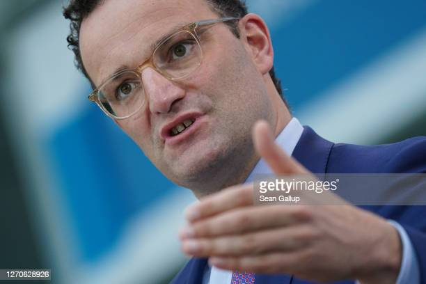 Health Minister Jens Spahn speaks to the media following a virtual meeting with other EU health ministers and officials as part of Germany's European...