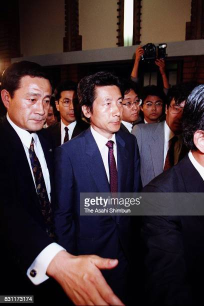 Health Minister Junichiro Koizumi is seen on arrival at Prime Minister Kiichi Miyazawa's official residence to submit his resignation letter a day...