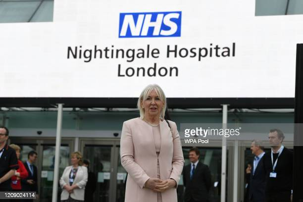 Health minister Nadine Dorries attends the opening of the NHS Nightingale Hospital at the ExCel centre on April 3 2020 in London England The field...