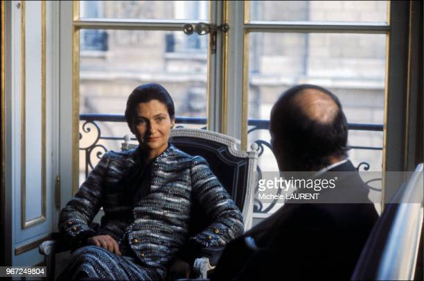 Health Minister Simone Veil and President Valery Giscard d'Estaing