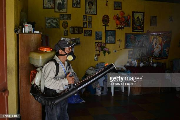 A Health Ministry's worker sprays insecticides against the Aedes Aegypti mosquito inside a house in Santa Barbara neighborhood north outskirst of...