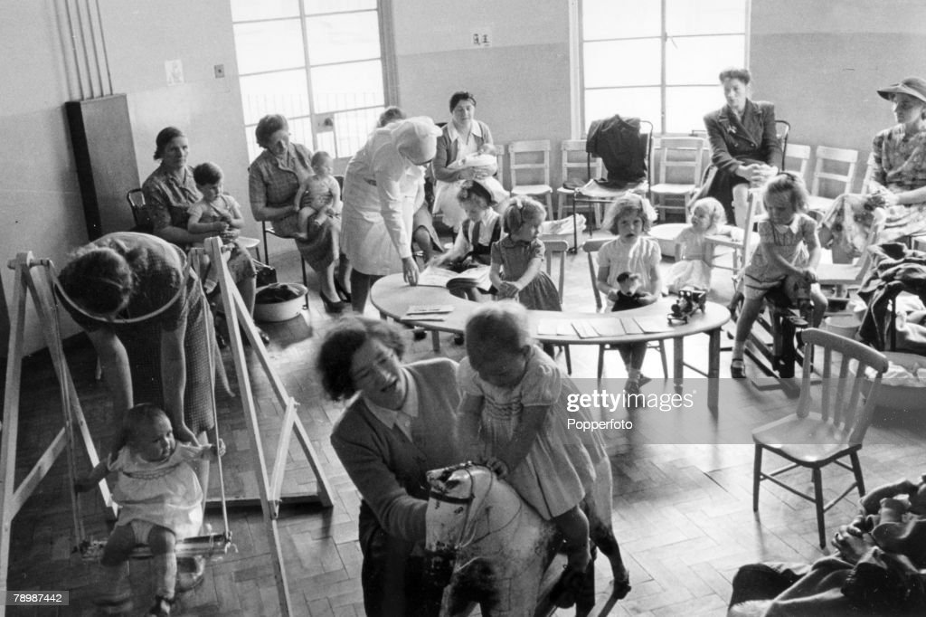 Health, National Health Service, Great Britain, pic: July 1948, This picture shows children, mothers and nurses at a Bristol clinic where regular health checks are carried out, This service was provided free on the National Health Service