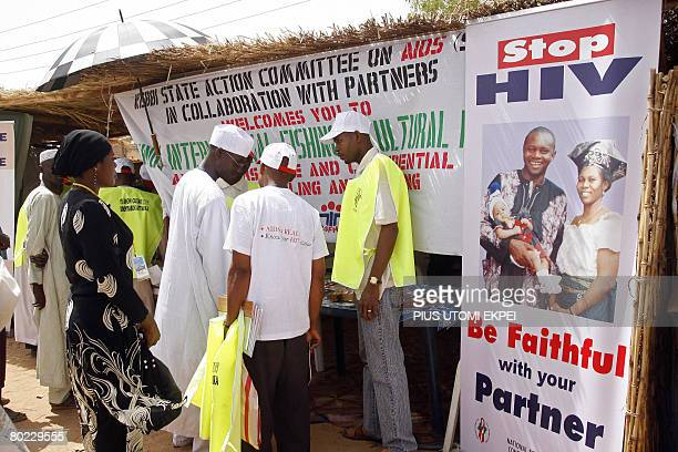 Health officials counsel guests on the prevention of HIV/AIDS transmission at the Argungu fishing festival in Kebbi State northwestern Nigeria on...