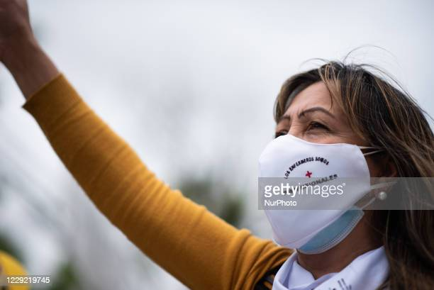 Health personnel claim for the professionalization of their work, in the framework of the Coronavirus 19 pandemic during a protest in Buenos Aires,...