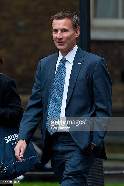Health Scretary Jeremy Hunt arrives at Downing Street for a cabinet meeting on September 8 2015 in London England Prime minister David Cameron will...