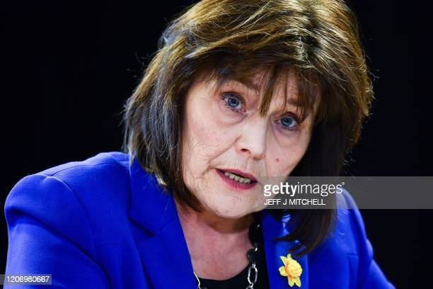 Health Secretary Jeane Freeman gives a press conference on the COVID-19 situation following a COBRA meeting on March 12, 2020 in Edinburgh. -...