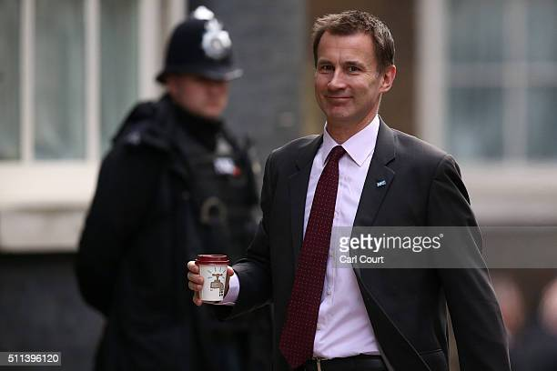 Health Secretary Jeremy Hunt arrives for a cabinet meeting at Downing Street on February 20 2016 in London England David Cameron has returned from an...