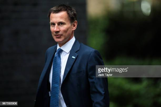 Health Secretary Jeremy Hunt arrives for a Cabinet meeting chaired by British Prime Minister Theresa May at 10 Downing Street on June 5 2018 in...