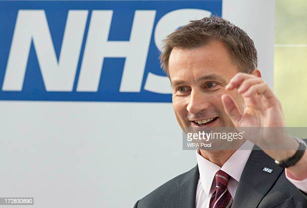 Health Secretary Jeremy Hunt delivers to deliver a speech during his visit with Prime Minister David Cameron to the Evelina London Children's...