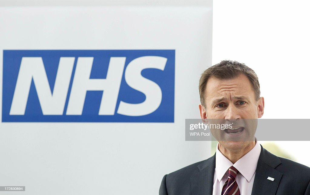 Health Secretary Jeremy Hunt (L) delivers to deliver a speech during his visit with Prime Minister David Cameron to the Evelina London Children's Hospital on July 5, 2013 in London, England. Cameron visited the hospital on Friday to mark the 65th anniversary of the National Health Service (NHS).