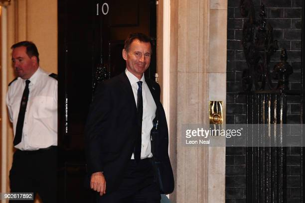 Health Secretary Jeremy Hunt leaves 10 Downing Street as Prime Minister Theresa May reshuffles her cabinet on January 8 2018 in London England...