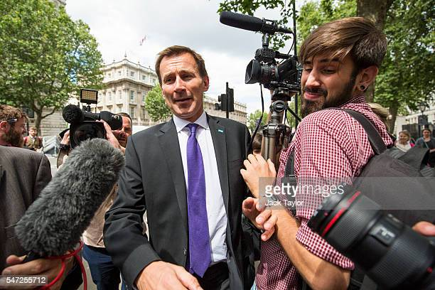 Health Secretary Jeremy Hunt leaves Downing Street on July 14 2016 in London England The UK's New Prime Minister Theresa May began appointing the key...