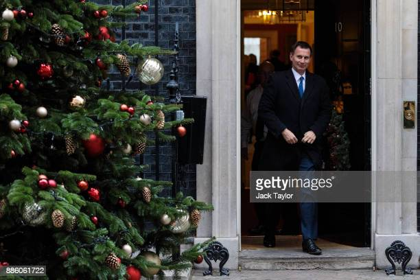 Health Secretary Jeremy Hunt leaves following the weekly cabinet meeting at Downing Street on December 5 2017 in London England British Prime...