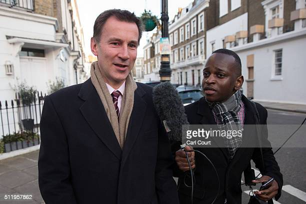 Health Secretary Jeremy Hunt leaves his home on February 24 2016 in London England Junior doctors have announced plans for three more strikes as part...