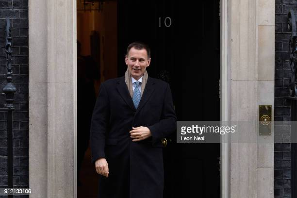 Health Secretary Jeremy Hunt leaves number 10 following a Cabinet meeting in Downing Street on January 30 2018 in London England