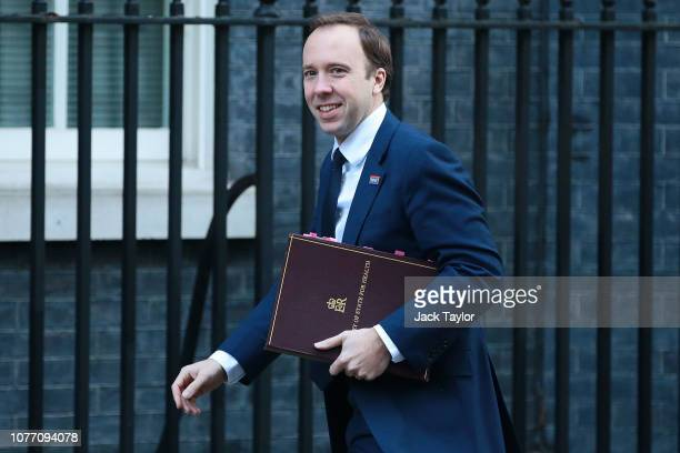 Health Secretary Matt Hancock arrives at 10 Downing Street as Ministers attend a weekly cabinet meeting ahead of a meaningful vote debate on the...