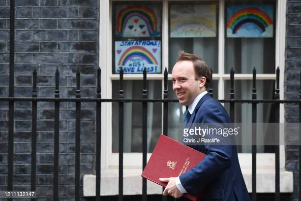 Health Secretary Matt Hancock arrives at Downing Street on April 28 2020 in London England British Prime Minister Boris Johnson who returned to...