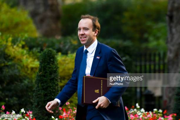 Health Secretary Matt Hancock arrives for a weekly meeting of cabinet ministers at number 10 Downing Street in London on October 16 2018 Prime...