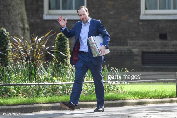 Health Secretary Matt Hancock arrives in Downing Street on May 8 2020 in London United Kingdom The country continues quarantine measures intended to...