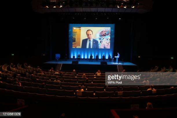 Health Secretary Matt Hancock gives a message via videolink at the opening of NHS Nightingale Hospital Yorkshire and Humber in North Yorkshire on...