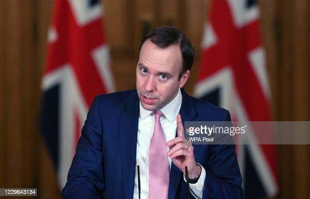 Health Secretary Matt Hancock holds a virtual press conference on the latest coronavirus developments at Downing Street on November 16 2020 in London...