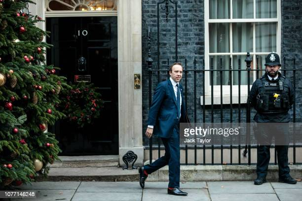 Health Secretary Matt Hancock leaves 10 Downing Street after Government Ministers attended a weekly cabinet meeting ahead of a meaningful vote debate...