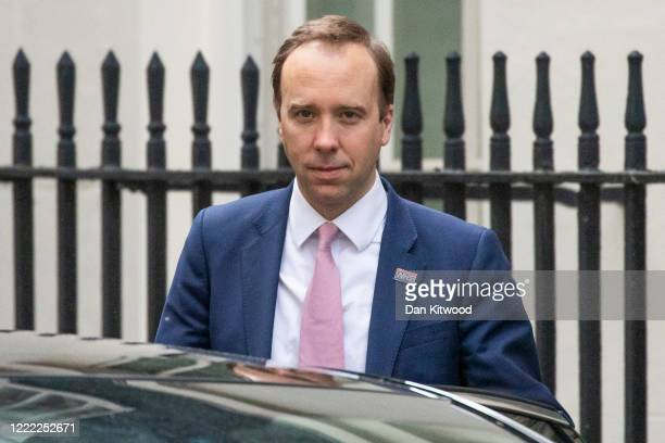 Health Secretary Matt Hancock leaves 10 Downing Street after the daily press briefing on May 01 2020 in London England Mr Hancock announced that the...