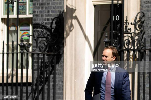 Health Secretary Matt Hancock leaves 10 Downing Street on April 29 2020 in London England British Prime Minister Boris Johnson who returned to...