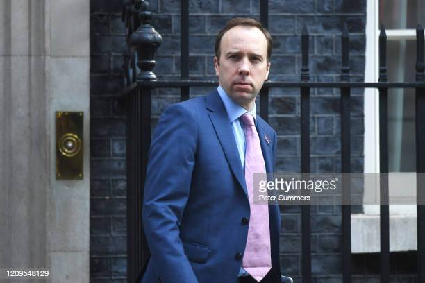 Health Secretary Matt Hancock leaves 10 Downing Street on April 9 2020 in London England Prime Minister Boris Johnson was transferred to the...