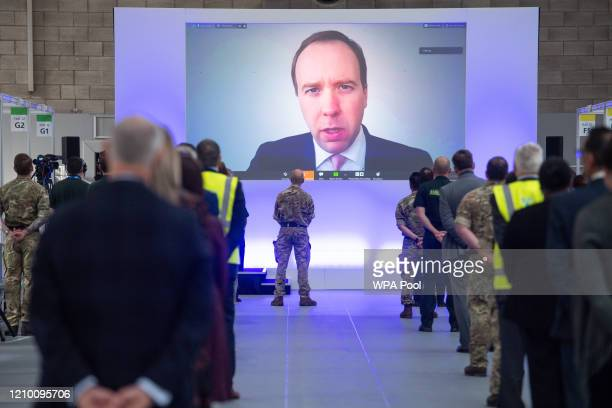Health Secretary Matt Hancock speaks prior to Prince William Duke of Cambridge opening the new NHS Nightingale Hospital via video link on April 16...