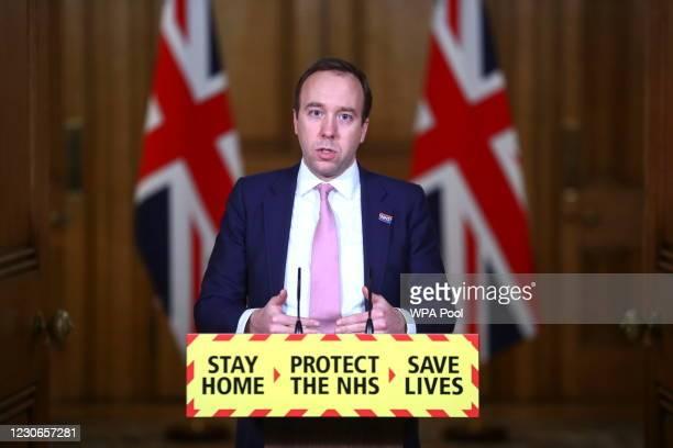 Health Secretary Matt Hancock talks at a virtual press conference at Downing Street on January 18, 2021 in London, England. The Health Secretary...