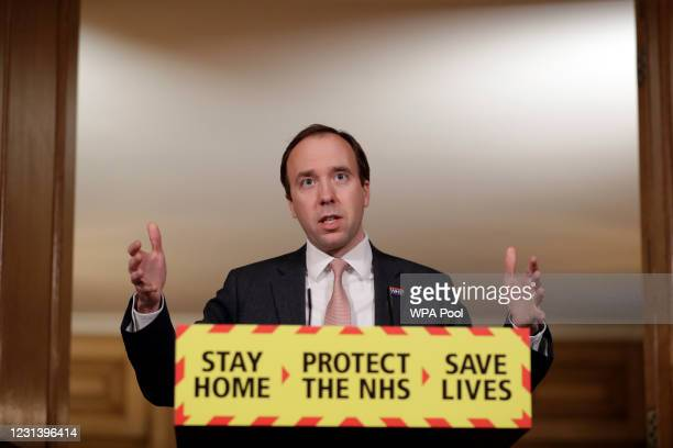Health Secretary Matt Hancock talks during the Covid-19 briefing at 10 Downing Street on February 26, 2021 in London, England. Earlier today it was...