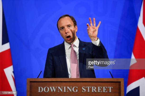 Health Secretary Matt Hancock updates the nation regarding the Coronavirus situation in the UK during a news conference at 10 Downing Street on May...