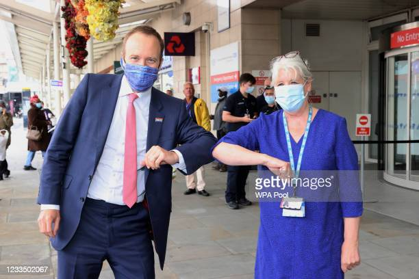 Health Secretary, Matt Hancock visits the Chelsea & Westminster Hospital ahead of a tour by Prince Charles, Prince of Wales on June 17, 2021 in...