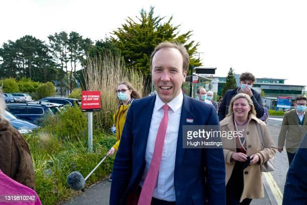 Health Secretary Matt Hancock visits the Royal Cornwall Hospital on May 24, 2021 in Truro, England. The Royal Cornwall Hospital is part of the...