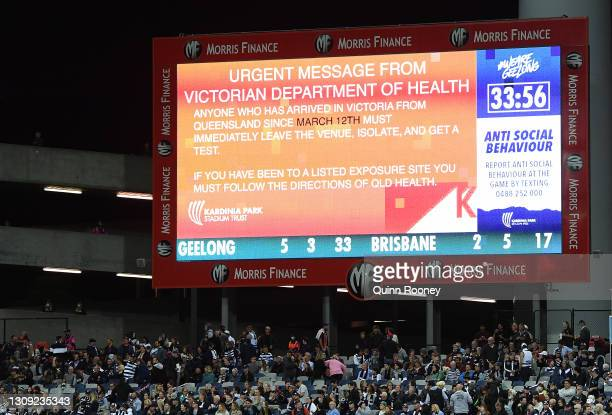 Health warning is put up on the big screen during the round 2 AFL match between the Geelong Cats and the Brisbane Lions at GMHBA Stadium on March 26,...