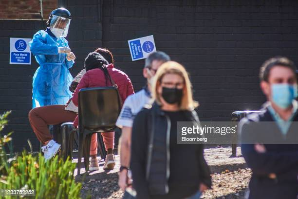 Health worker prepares a swab test at a Testaro Covid-19 testing site/laboratory in the Dunkeld suburb of Johannesburg, South Africa, on Thursday,...
