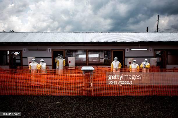 Health workers are seen inside the red zone at a newly build MSF supported ebola treatment centre on November 7 2018 in Bunia Democratic Republic of...